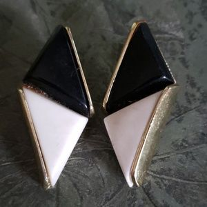 Vintage Black and White Clip on Earrings